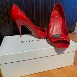 "Givenchy red patent leather 3"" peep toe shoes"